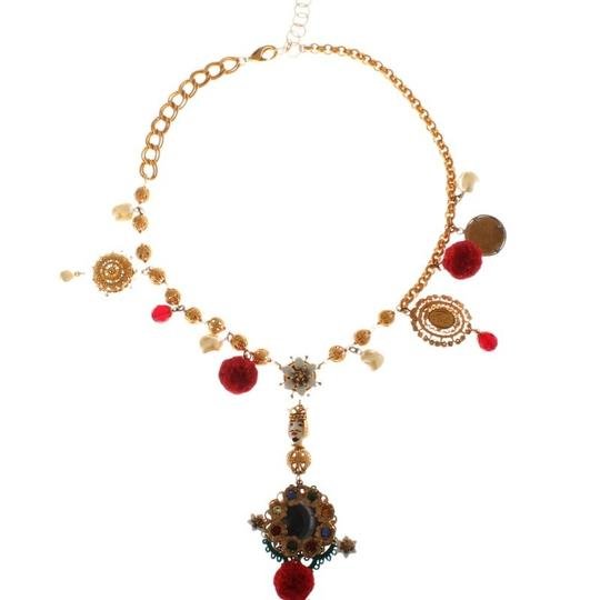 Dolce&Gabbana D31579 Women's Gold Brass Crystal Floral Sicily Charms Chain Necklace Image 1