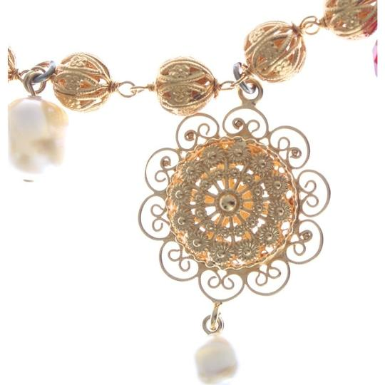 Dolce&Gabbana D31579 Women's Gold Brass Crystal Floral Sicily Charms Chain Necklace Image 4