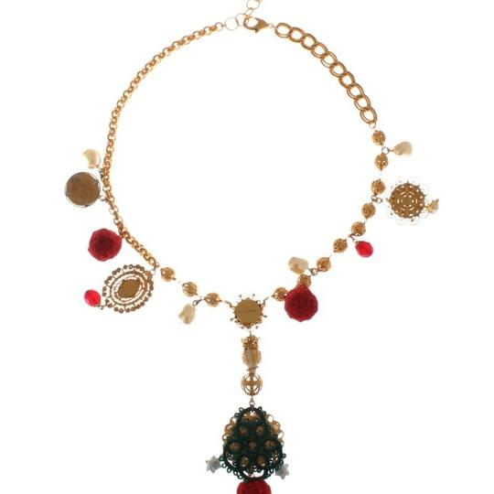 Dolce&Gabbana D31579 Women's Gold Brass Crystal Floral Sicily Charms Chain Necklace Image 7