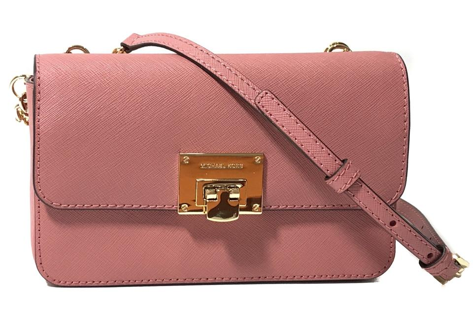 Michael Kors Tina Wallet and Clutch Pink Leather Cross Body Bag ... 88aa75dde3277