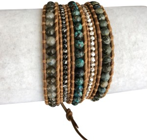 Chan Luu New Auth Chan Luu African Turquoise Mix Five Wrap Tan Leather Bracelet