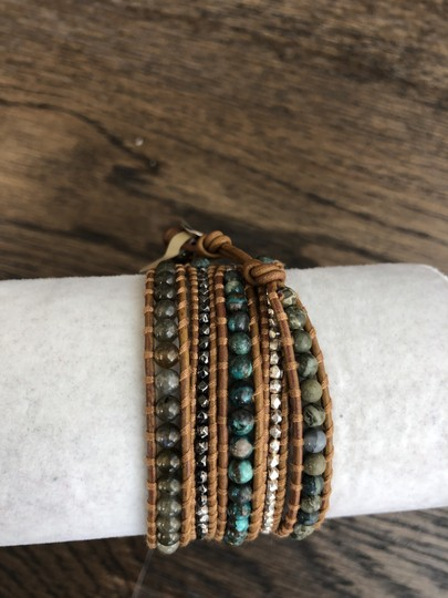 Chan Luu New Auth Chan Luu African Turquoise Mix Five Wrap Tan Leather Bracelet Image 1
