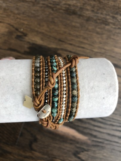Chan Luu New Auth Chan Luu African Turquoise Mix Five Wrap Tan Leather Bracelet Image 2