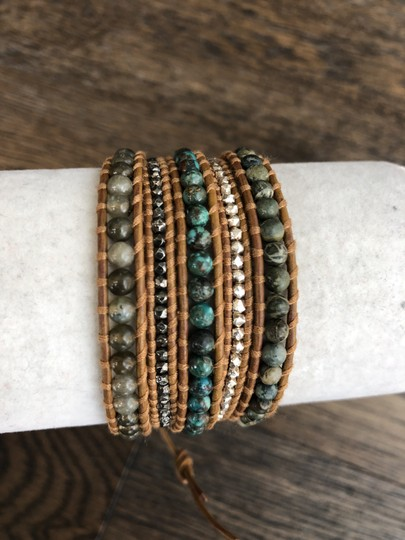 Chan Luu New Auth Chan Luu African Turquoise Mix Five Wrap Tan Leather Bracelet Image 3