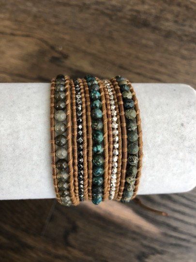 Chan Luu New Auth Chan Luu African Turquoise Mix Five Wrap Tan Leather Bracelet Image 5
