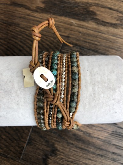 Chan Luu New Auth Chan Luu African Turquoise Mix Five Wrap Tan Leather Bracelet Image 6