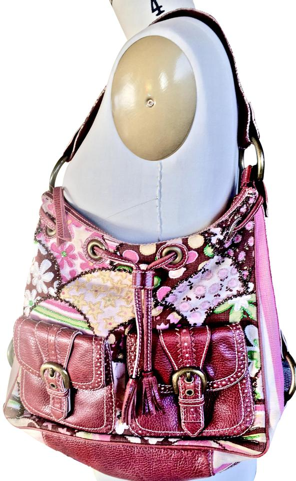 915eee36290 Isabella Fiore Beaded Burgundy/Green/Pink Leather/Cloth Hobo Bag ...