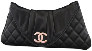 Chanel Quilted Evening black/Silver Clutch