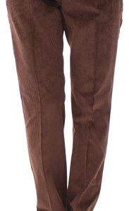 Dolce&Gabbana D11601-5 Women's Corduroys Logo Casual Straight Pants Brown