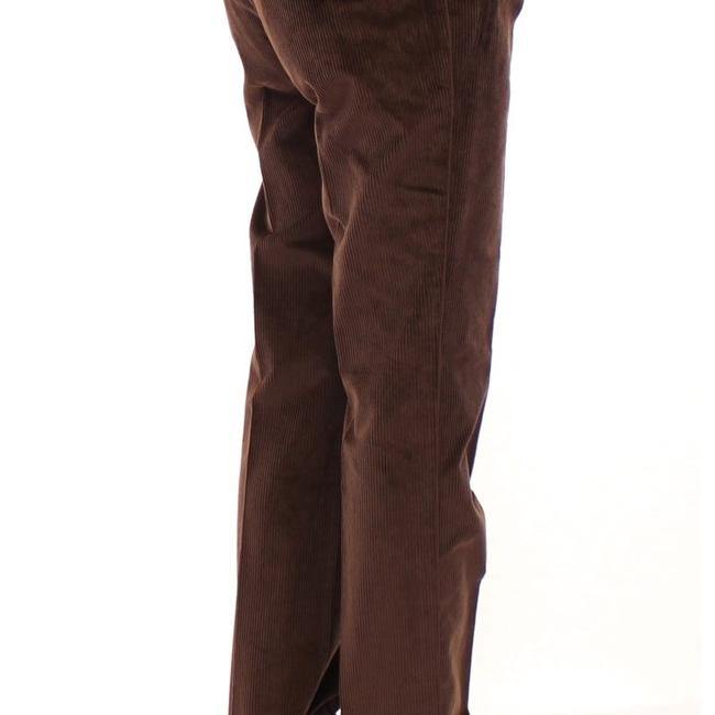 Dolce&Gabbana D11601-5 Women's Corduroys Logo Casual Straight Pants Brown Image 1