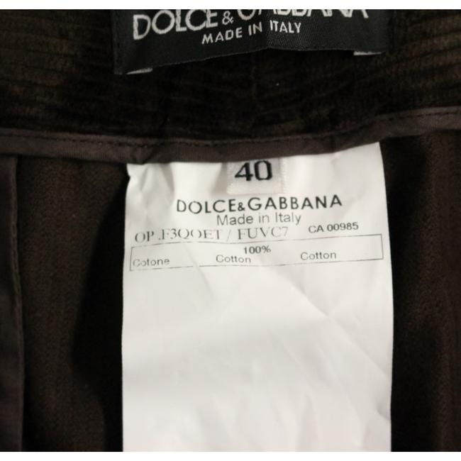 Dolce&Gabbana D11601-5 Women's Corduroys Logo Casual Straight Pants Brown Image 6