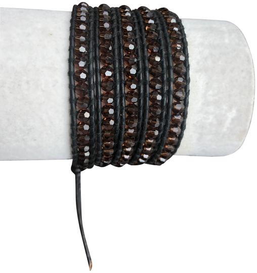 Chan Luu New Auth Chan Luu Brown Crystal Five Wrap Bracelet on Black Leather Image 0