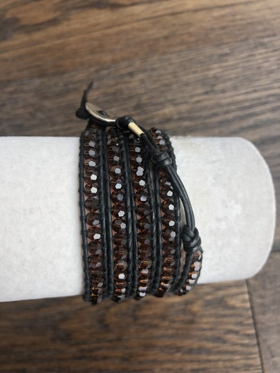 Chan Luu New Auth Chan Luu Brown Crystal Five Wrap Bracelet on Black Leather Image 1