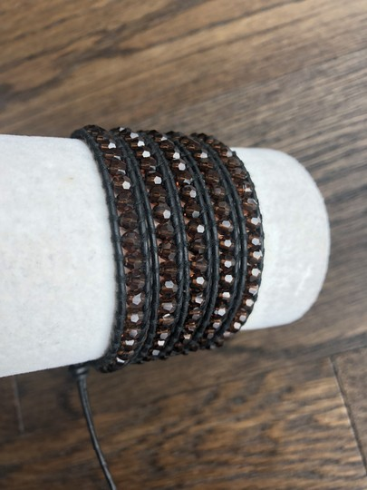Chan Luu New Auth Chan Luu Brown Crystal Five Wrap Bracelet on Black Leather Image 2