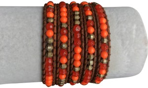 Chan Luu New Auth Chan Luu Indian Red Agate Mix Five Wrap Bracelet on Light Bro