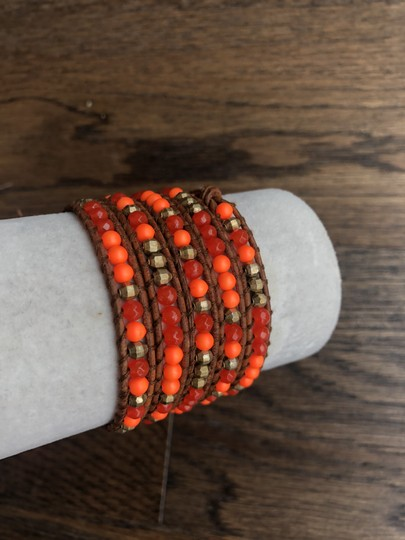 Chan Luu New Auth Chan Luu Indian Red Agate Mix Five Wrap Bracelet on Light Bro Image 2