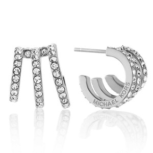Michael Kors New Michael Kors Modern Brilliance Crystal Pave Huggie Earrings Silver