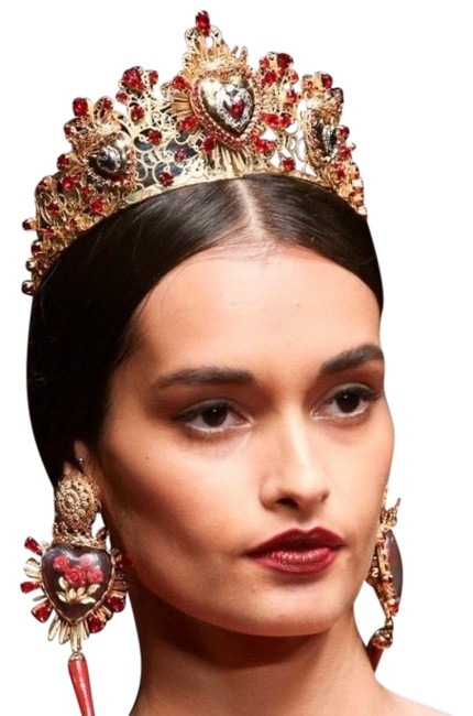 Item - Gold Red Sacred Heart Tiara Hair Accessory