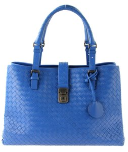 Bottega Veneta Nappa Leather Roma Tote in Blue