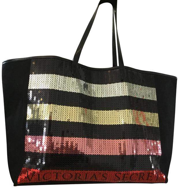 Item - Sequence Black Pink Gold & Silver Canvas Tote