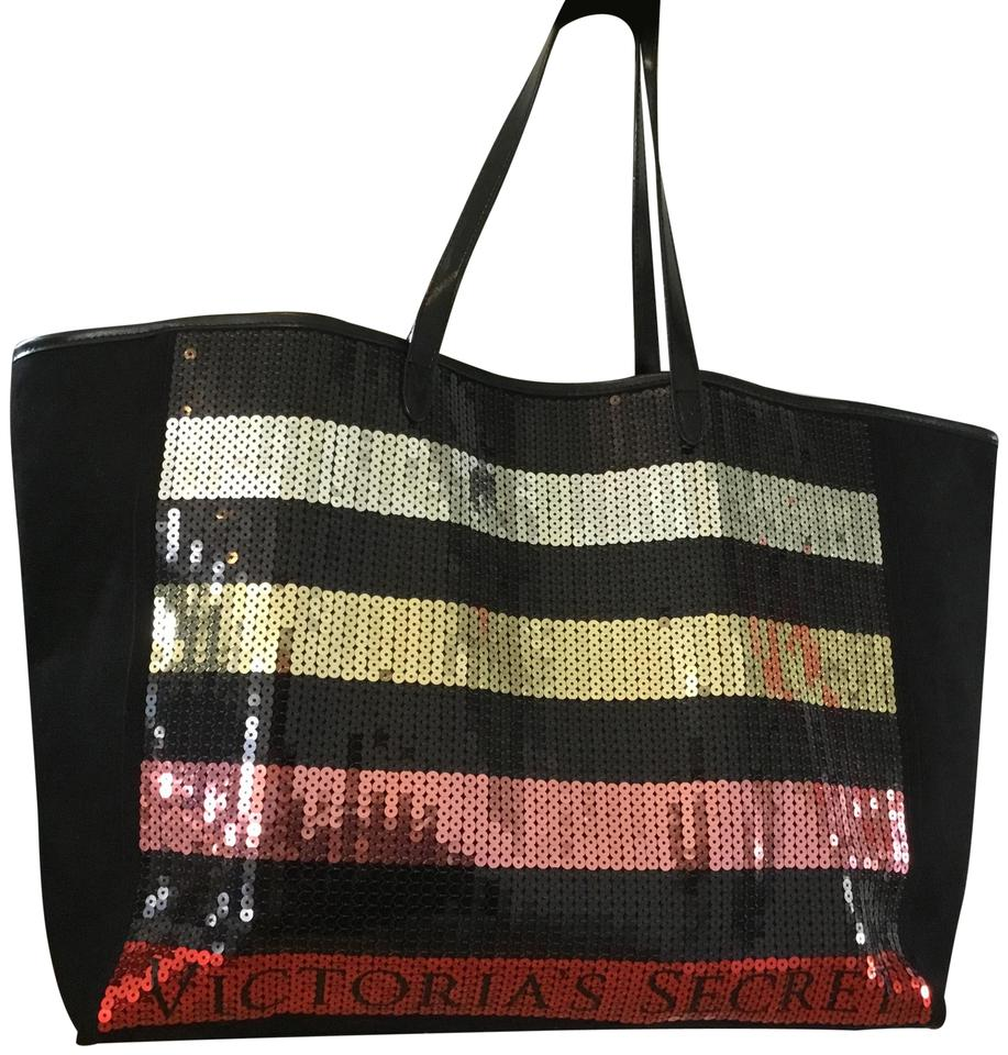 40e640863fdd72 Victoria's Secret Sequence Black Pink Gold & Silver Canvas Tote ...