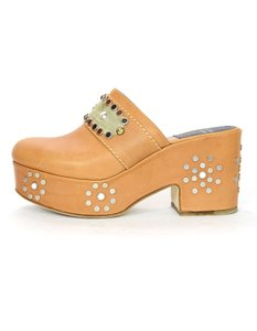 Laurence Dacade Studded Platform Leather Tan Mules
