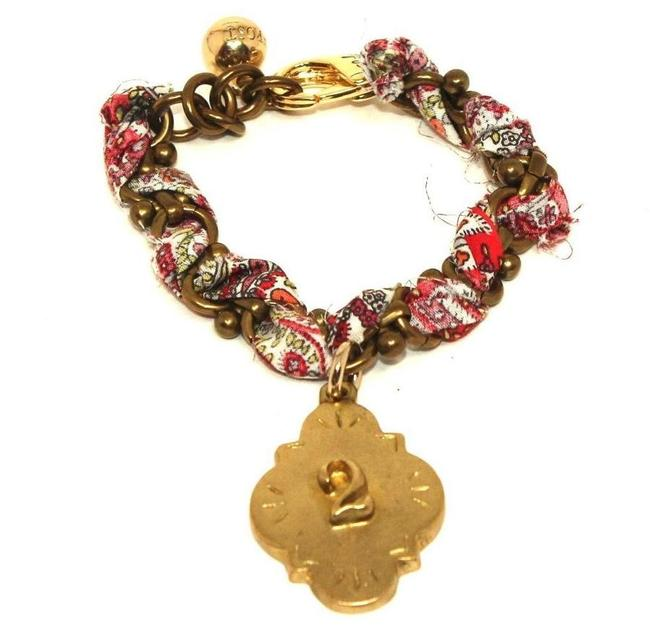 Lulu Frost Red Paisley Gold and Number 2 Ribbon Bracelet Lulu Frost Red Paisley Gold and Number 2 Ribbon Bracelet Image 1