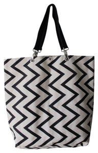 Other Cotton Geometric Casual Tote in Black and White