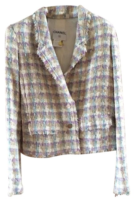 Item - Purple/Cream/Teal 05pchic Fantasy Tweed Fringed Classic Jacket Blazer Size 6 (S)