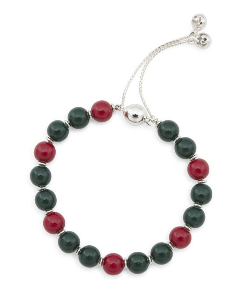 a545ea4ec Gucci Glossy Wood Beads In Green and Red Colors On A Sterling Silver ...
