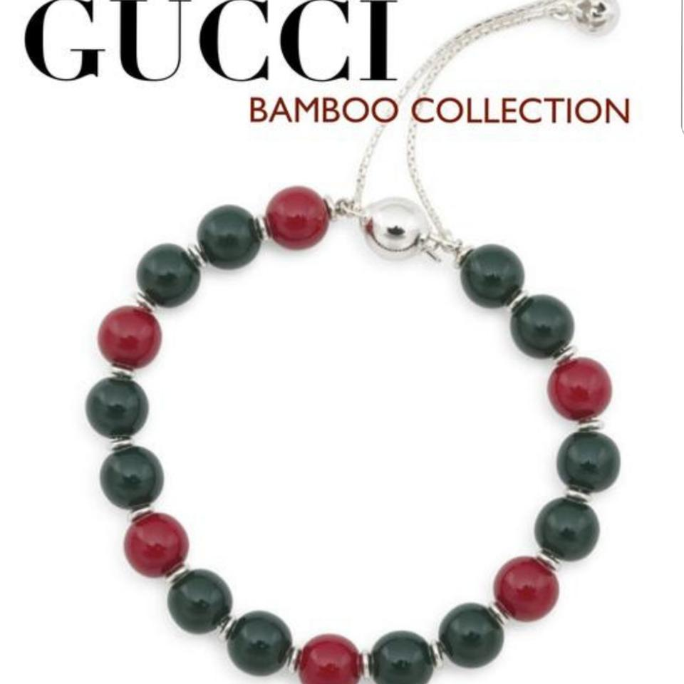 0f73e9e7a Gucci Glossy Wood Beads In Green and Red Colors On A Sterling Silver ...