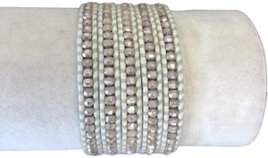 Chan Luu New Auth Chan Luu Sterling Silver Indian Bead Five Wrap White Leather