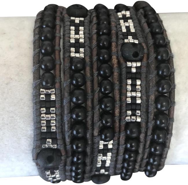Item - Black & Silver New Skull Five Wrap Natural Brown Leather Bracelet