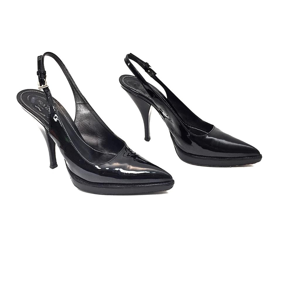 d4ab2becb70 Prada Black Patent Leather Platform Pointy Toe Slingbacks Pumps Size ...