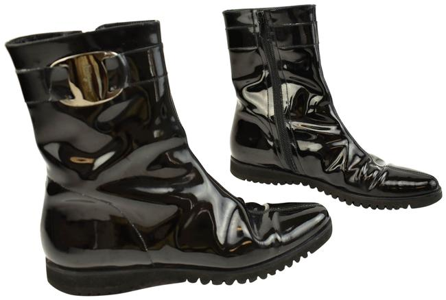 """Item - Black Patent Leather """"Vara"""" Buckle Short Boots/Booties Size US 6.5 Narrow (Aa, N)"""