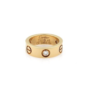 Cartier Love 3 Diamond 18k Yellow Gold 5.5mm Band Ring Size 46-US 4 Cert.