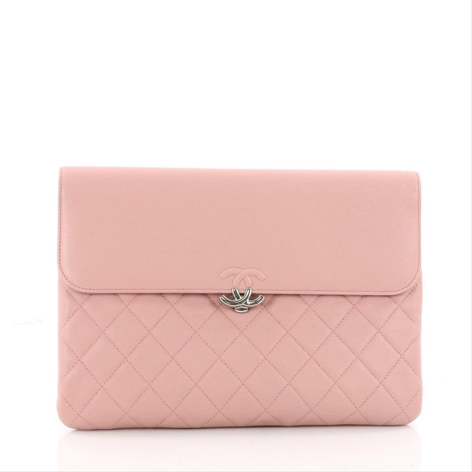 abef2e132ad2 Chanel Cc Box Flap Pouch Quilted Pink Goat Skin Leather Wristlet ...