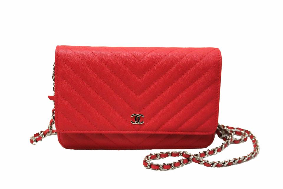 ea4b8e9f9a68 Chanel Wallet on Chain Chevron Caviar Woc Coral Red Leather Clutch ...