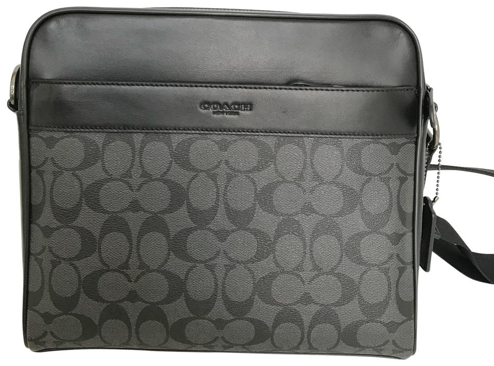 e9a1b7797a36f Coach Charles Camera In Signature F28456) Charcoal Black Black Leather  Canvas Messenger Bag