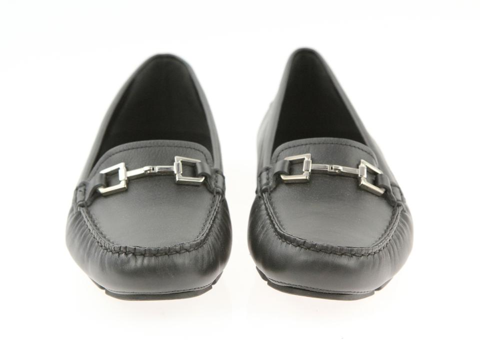 aa9e15eaf9d Gucci Black Horsebit Leather Silver Driving 371390 Moccasin Loafers Flats