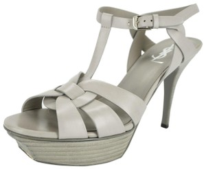 Saint Laurent Ysl Yves Classic Stacked Formal Gray Sandals