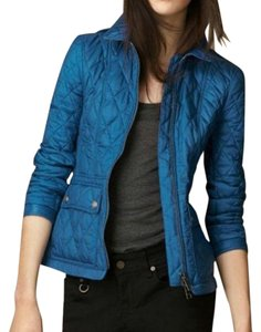 Burberry Women's Coat Zipper Button Logo Blue Jacket