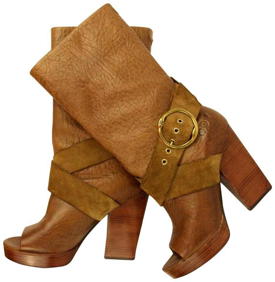 825a2129e58 Lucky Brand Brown Phoebe Leather Suede Open Toe Stacked Boots/Booties Size  US 7.5 Regular (M, B) 61% off retail