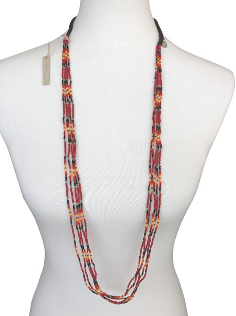 Item - Tango Red Mix Multi Strand Seed Bead Color: Necklace
