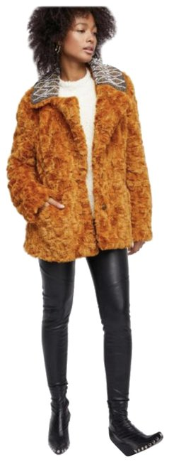 Item - Burnt Orange Faux Stylish with Embellished Collar Coat Size 2 (XS)
