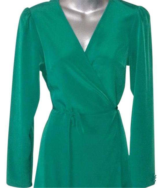 Item - Green Stunning Silky Wrapped Mid-length Work/Office Dress Size 4 (S)