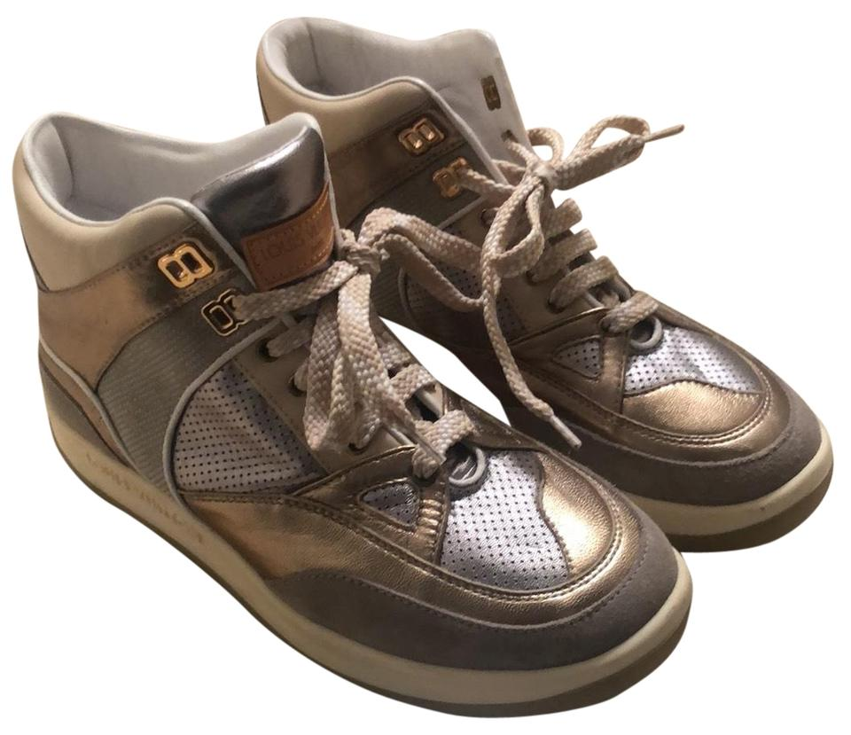 569b28886272 Louis Vuitton Gold and Silver Hightop Sneakers Size EU 37 (Approx ...