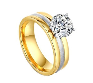 Yellow 18k Gold-plated 1.25 Ctw Princess Cut Solitaire Two-tone Cz Gift Ring