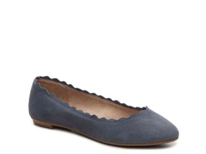 Crown Vintage Scalloped Ballet Light Blue/Navy Suede Flats