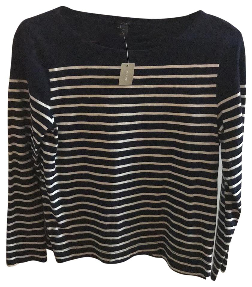 672c381819 J.Crew Navy and White Stripes Long Sleeve T-shirt Tee Shirt. Size: 4 ...
